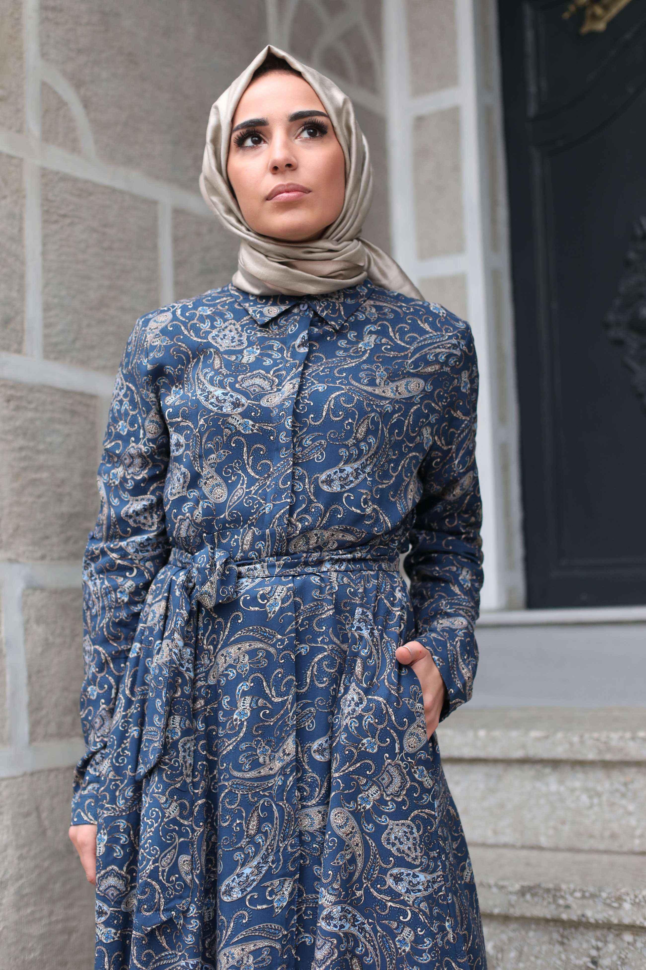 Hot Fashion Desenli Tesettür Elbise Modelleri
