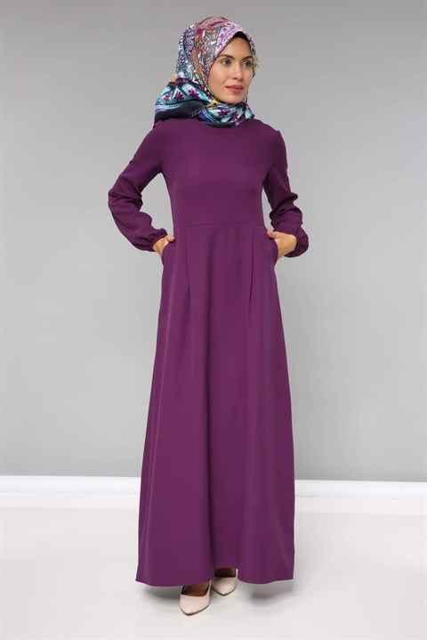 Moda Periy Büzgülü Tesettür Elbise Modelleri