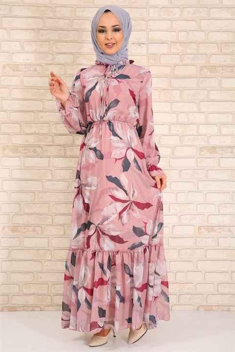 Moda Periy Desenli Fırfırlı Tesettür Elbise Modelleri