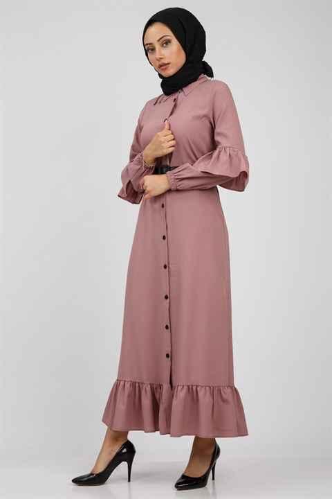Moda Periy Fırfırlı Tesettür Elbise Modelleri