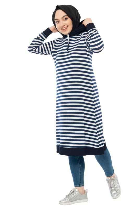 Moda Pinhan Çizgili Tesettür Tunik Modelleri