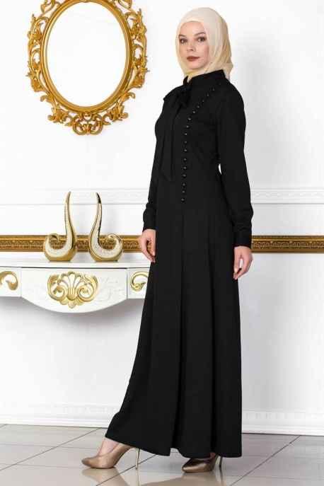 Moda Yaprak Fular Detaylı Düğmeli Tesettür Elbise Modelleri
