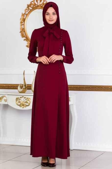 Moda Yaprak Fular Detaylı Tesettür Elbise Modelleri