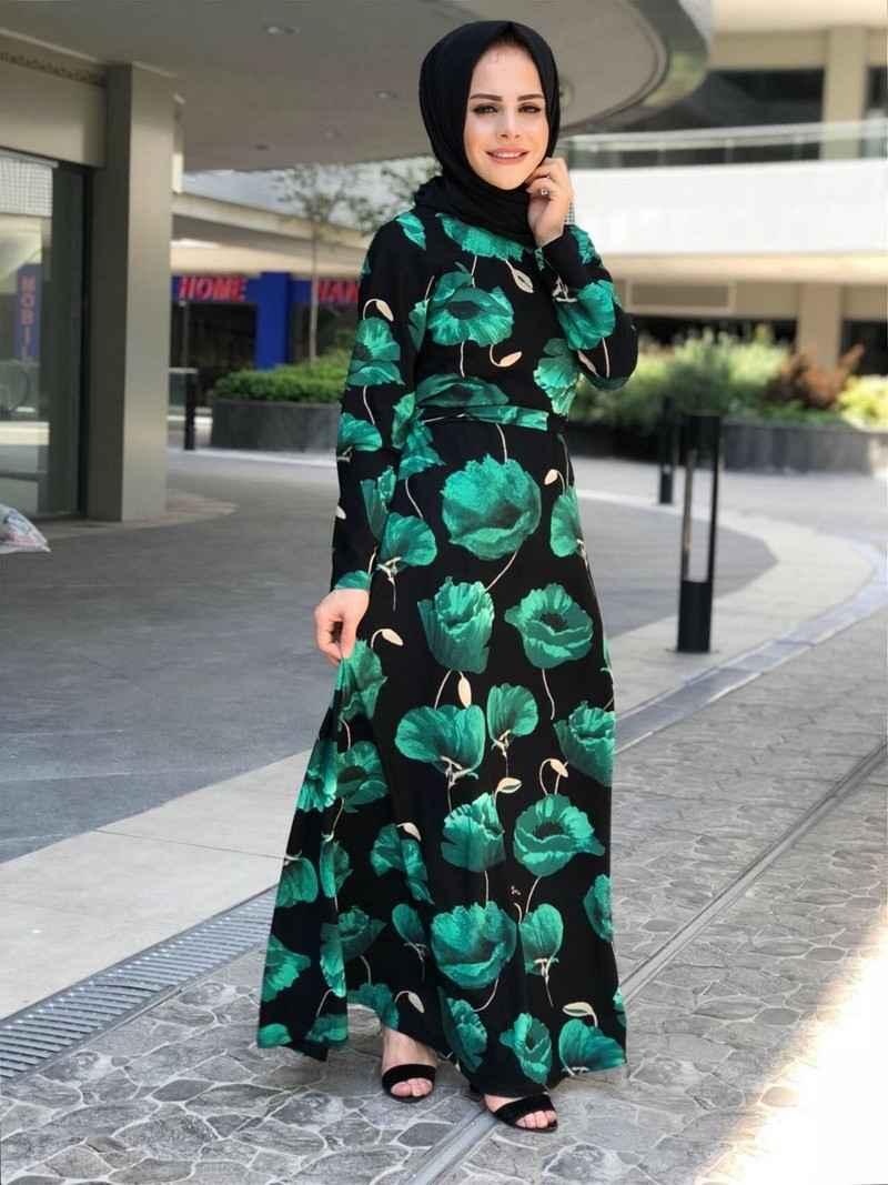 ModaOnur Şık Desenli Tesettür Elbise Modelleri