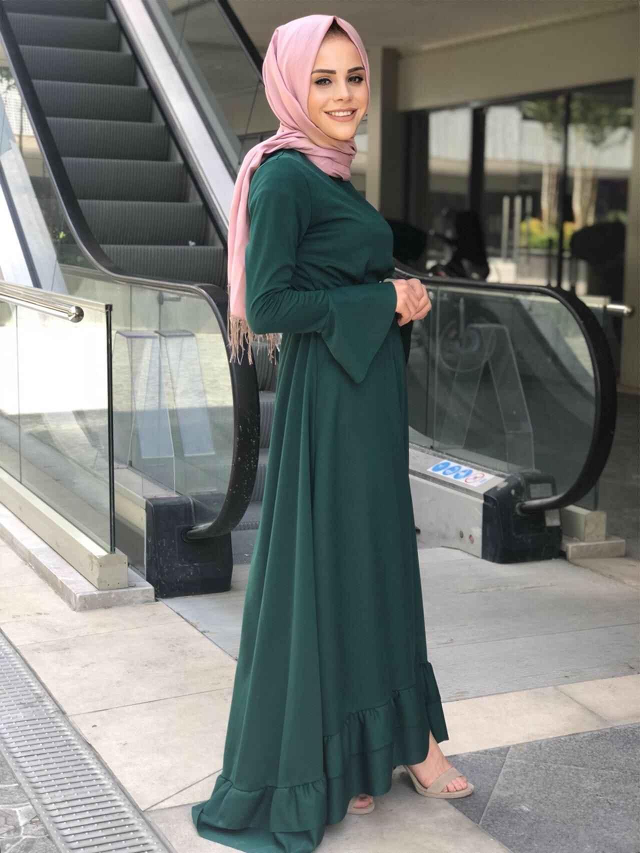 ModaOnur Şık Fırfırlı Tesettür Elbise Modelleri