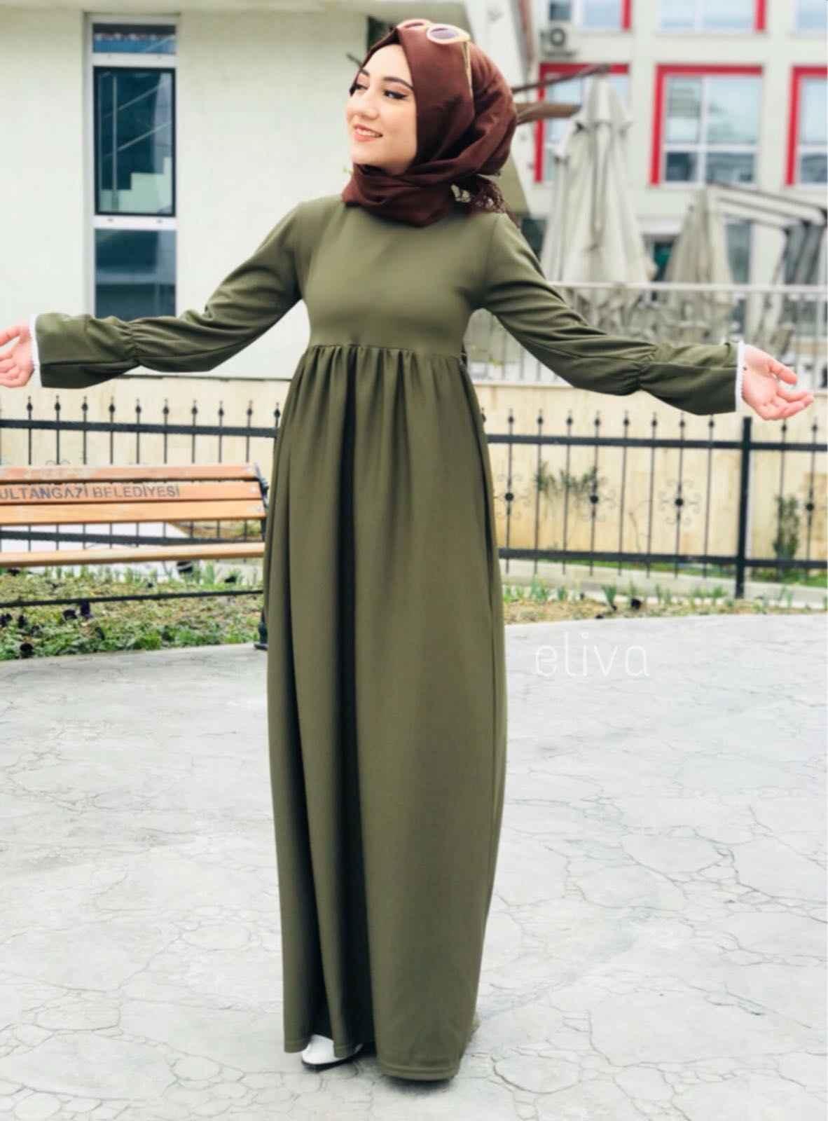 ModaOnur Büzgülü Tesettür Haki Elbise Modelleri