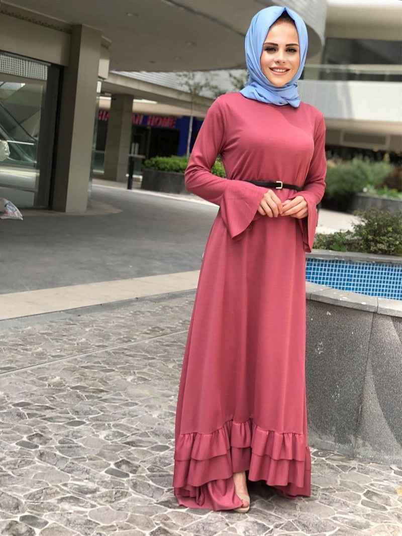ModaOnur Fırfırlı Tesettür Elbise Modelleri