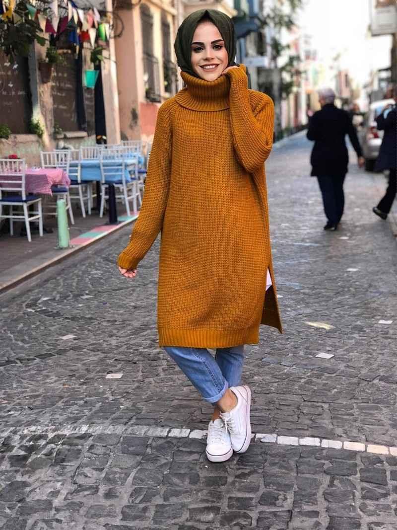 ModaOnur Yırtmaçlı Boğazlı Tesettür Tunik Modelleri