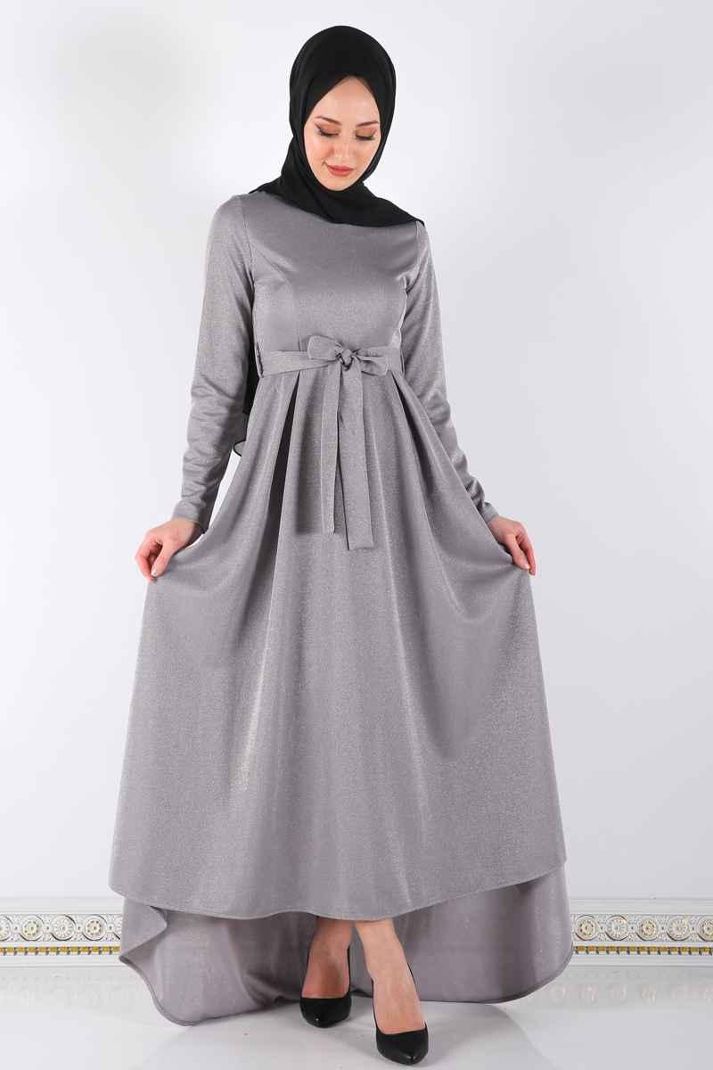 ModaSima Simli Pileli Tesettür Elbise Modelleri
