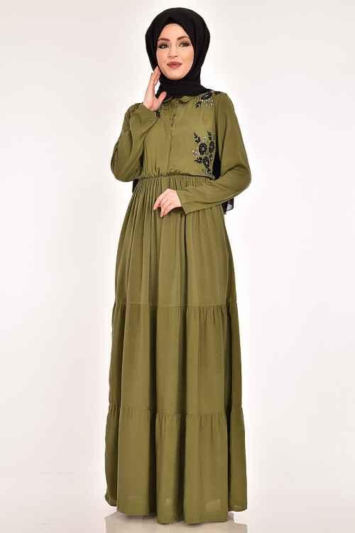 Modahira Büzgülü Tesettür Elbise Modelleri