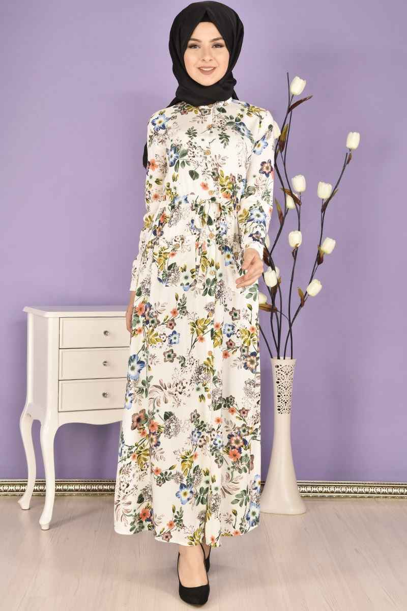 Modamerve Büzgülü Tesettür Elbise Modelleri