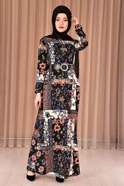 Modamerve Desenli Tesettür Elbise Modelleri