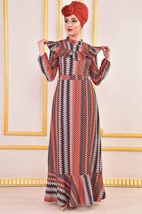 Modamerve Fırfırlı Tesettür Elbise Modelleri