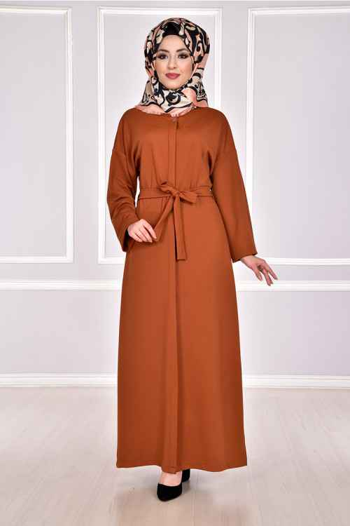 Modamerve Gizli Düğmeli Tesettür Ferace Elbise Modelleri