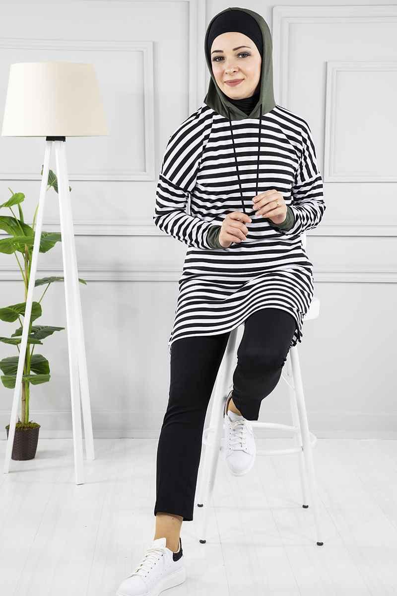 Modanoiva Zebra Desen Kapşonlu Tesettür Tunik Modelleri