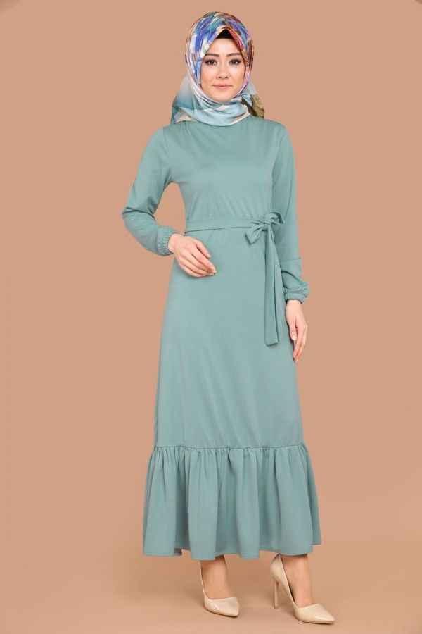 Modaselvim Fırfırlı Tesettür Elbise Modelleri