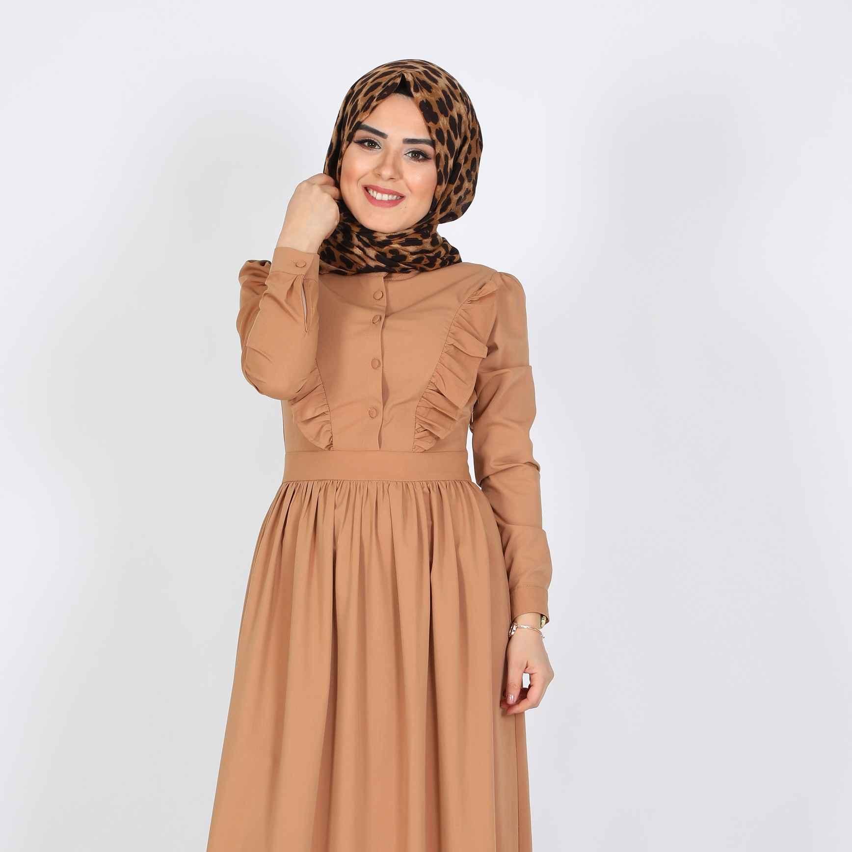 Fırfırlı Tesettür Elbise Modelleri