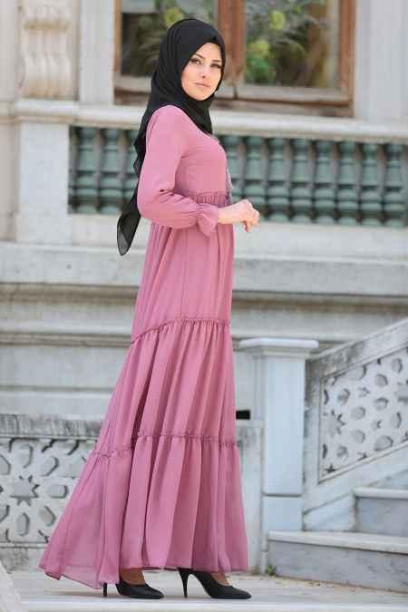 Neva Style Şık Büzgülü Tesettür Elbise Modelleri