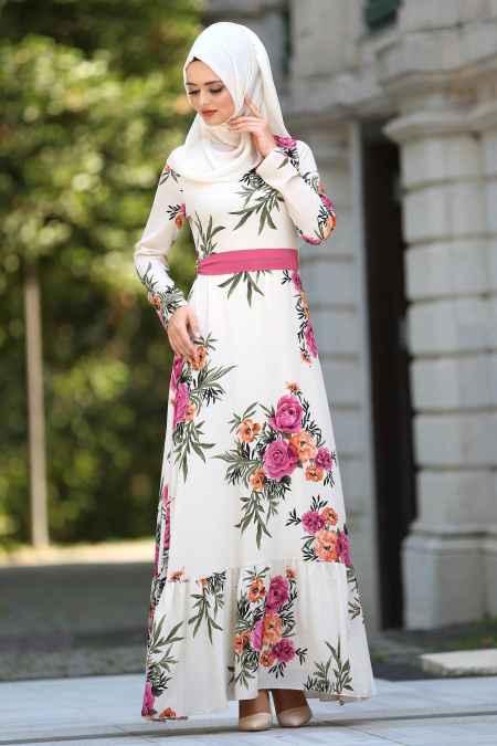 Neva Style Şık Desenli Tesettür Elbise Modelleri