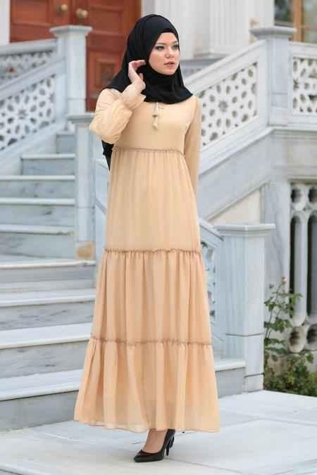Neva Style Büzgülü Tesettür Krem Elbise Modelleri