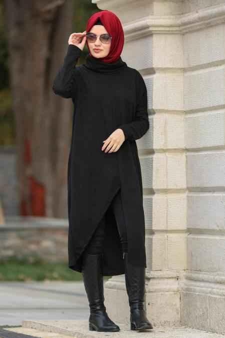 Neva Style Boğazlı Tesettür Siyah Tunik Modelleri