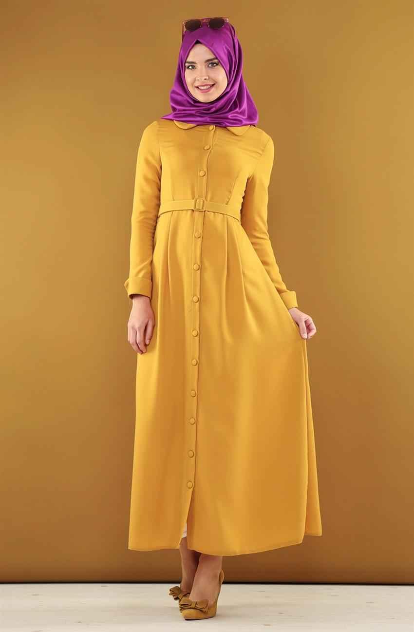 Nursima Bebe Yaka Tesettür Elbise Modelleri