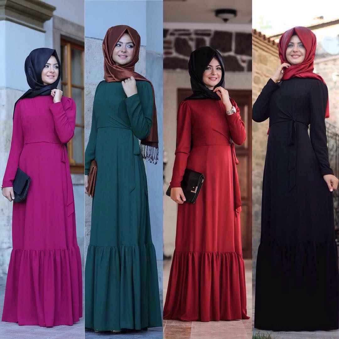 Pınar Şems Fırfırlı Tesettür Elbise Modelleri