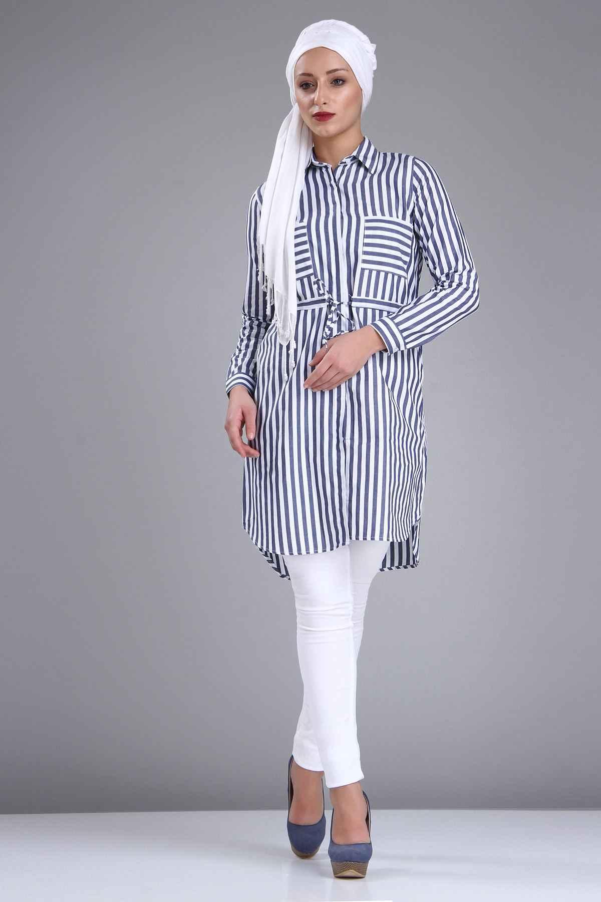 Patırtı Çizgili Tesettür Tunik Gömlek Modelleri