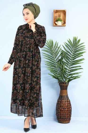 Pazarium Fular Detaylı Desenli Tesettür Elbise Modelleri
