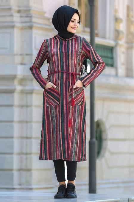 Puane Çizgili Tesettür Tunik Modelleri