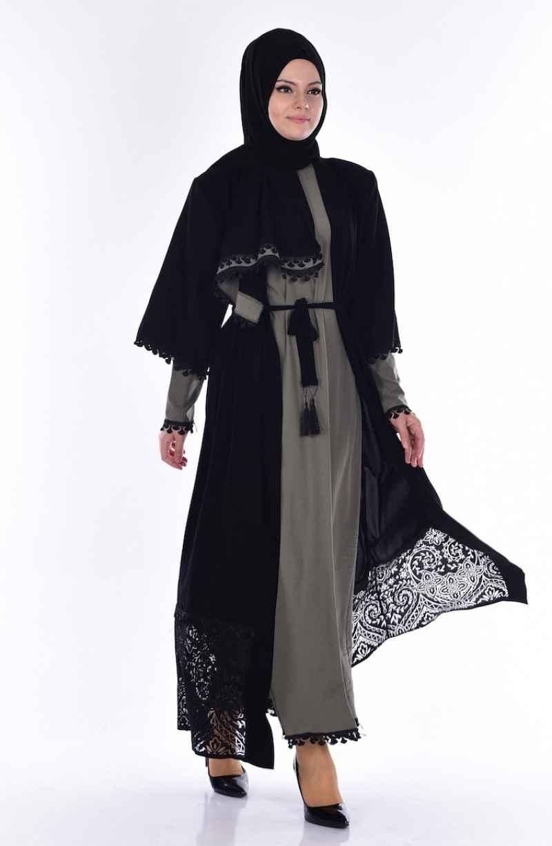 Safemerve Dantelli Elbiseli Tesettür Takım Modelleri