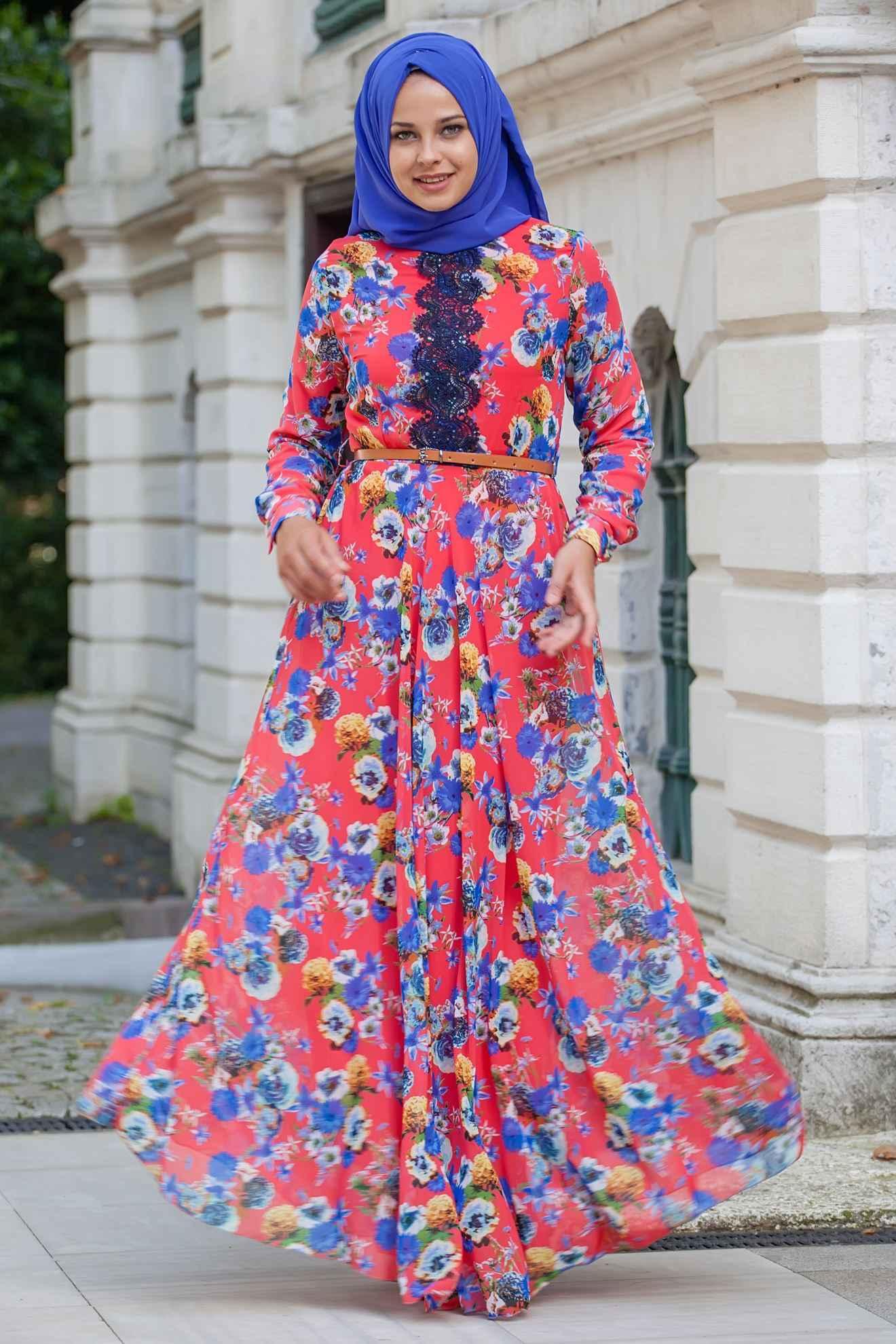 Sedanur Collection Desenli Tesettür Elbise Modelleri