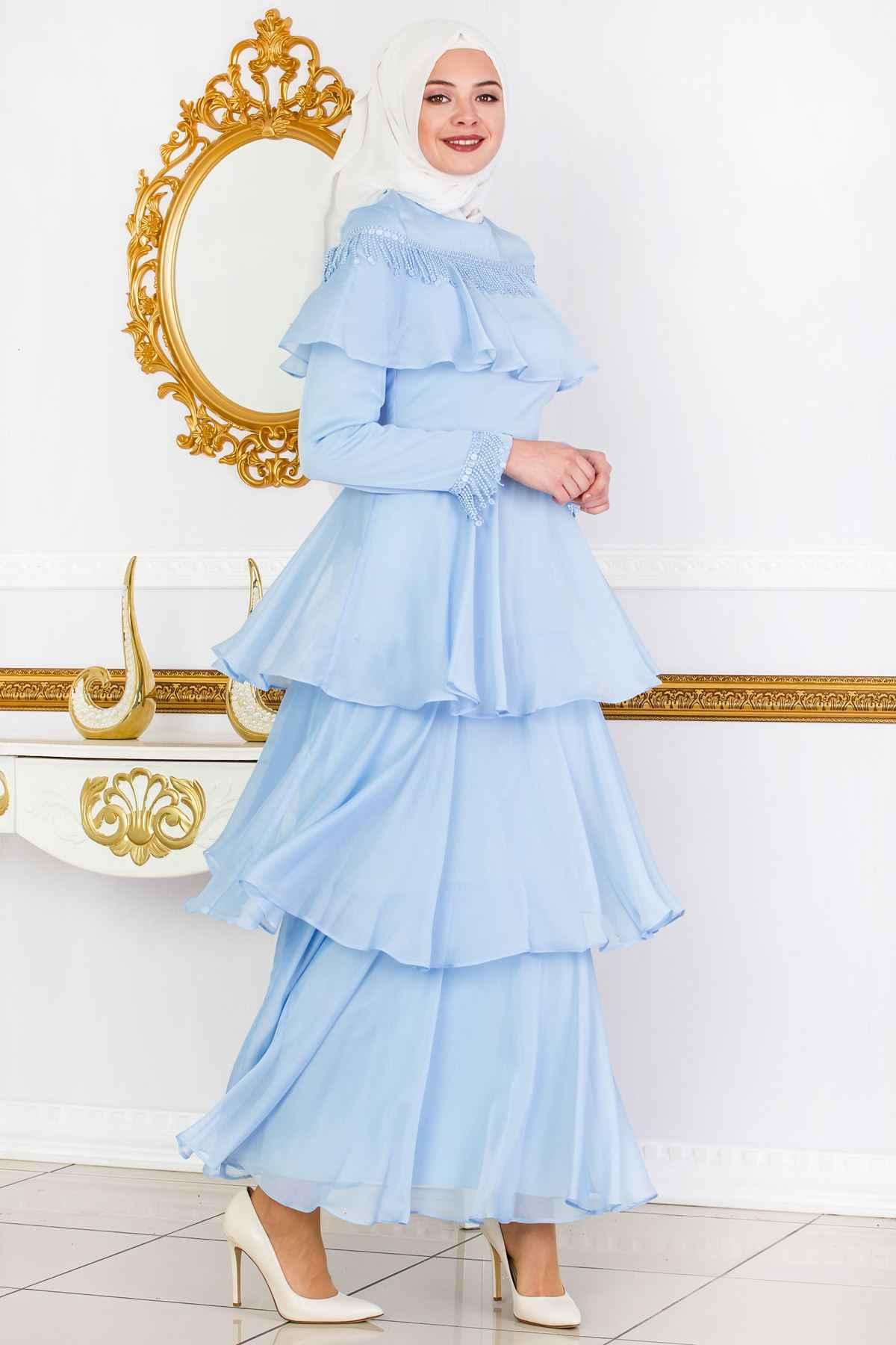 Sedanur En Şık Fırfırlı Tesettür Elbise Modelleri