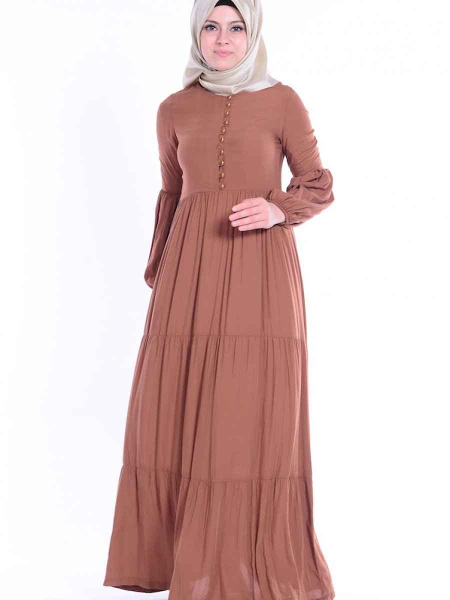 Sefamerve Büzgülü Tesettür Elbise Modelleri