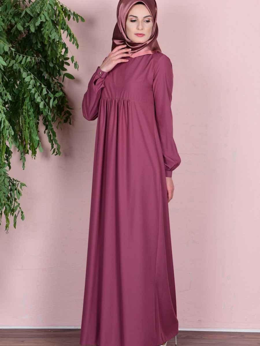 Sefamerve Büzgülü Tesettür Gül Kurusu Elbise Modelleri
