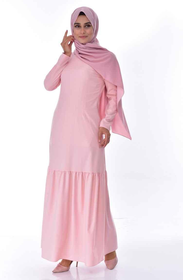 Sefamerve Büzgülü Tesettür Pudra Elbise Modelleri