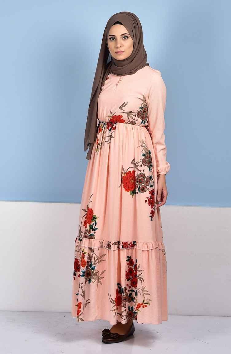 Sefamerve Desenli Tesettür Elbise Modelleri