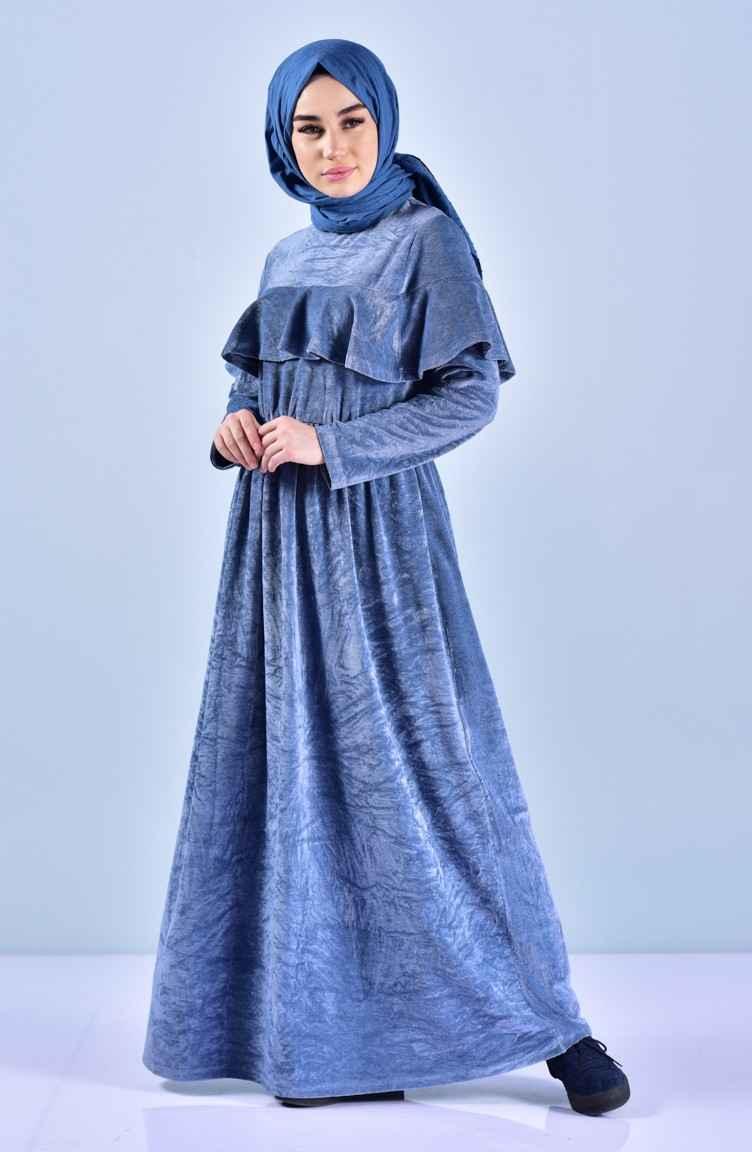 Sefamerve Fırfırlı Tesettür Kadife Elbise Modelleri