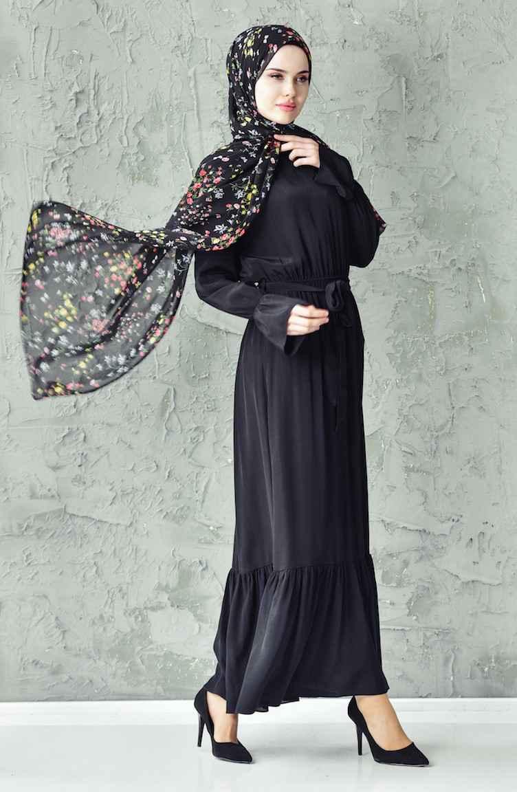 Sefamerve Kuşaklı Büzgülü Tesettür Elbise Modelleri