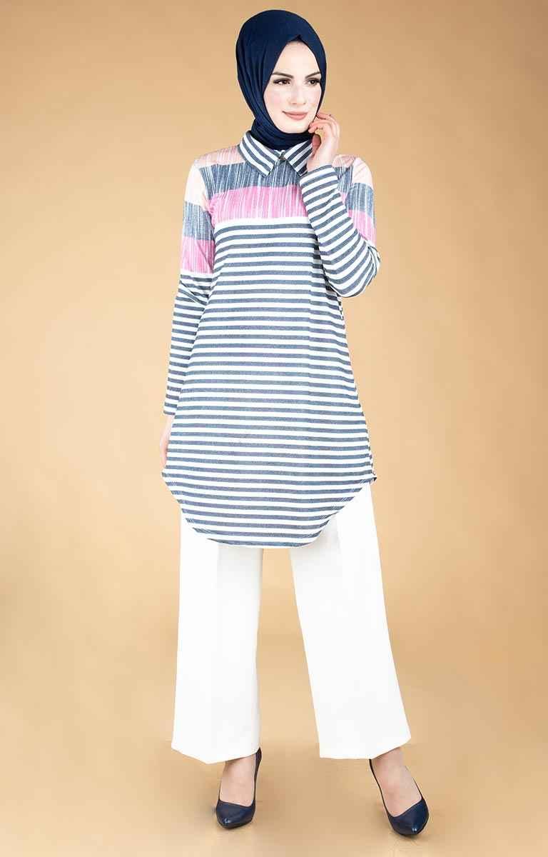 Tesettür Pazarı Şık Çizgili Tunik Modelleri