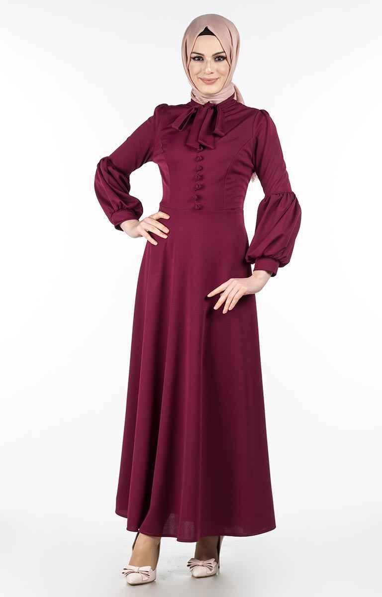 Tesettür Pazarı Fularlı Düğmeli Elbise Modelleri