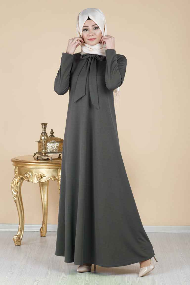 Tesettür Pazarı Fularlı Elbise Modelleri