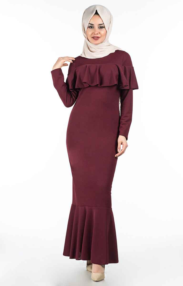 Tesettür Pazarı Göğsü Fırfırlı Tesettür Elbise Modelleri