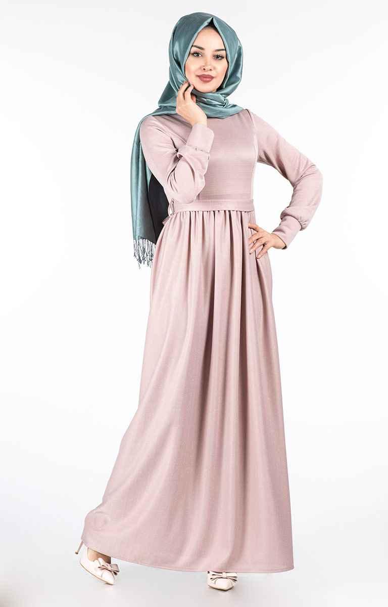 Tesettür Pazarı Simli Pileli Elbise Modelleri