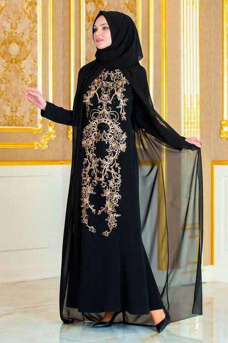 İfondi Pelerinli Tesettür Abiye Elbise Modelleri