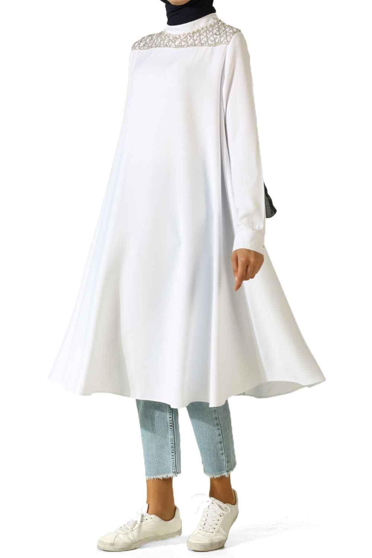 Allday Baklava Desen Taş İşlemeli Tesettür Tunik Modelleri