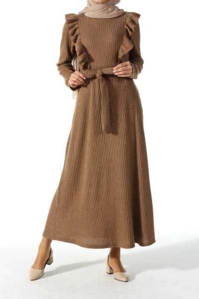 Allday Günlük Tesettür Fırfırlı Elbise Modelleri