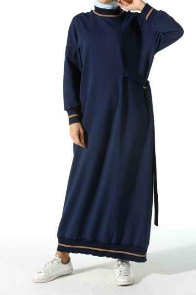 Allday Kuşaklı Tesettür Elbise Modelleri