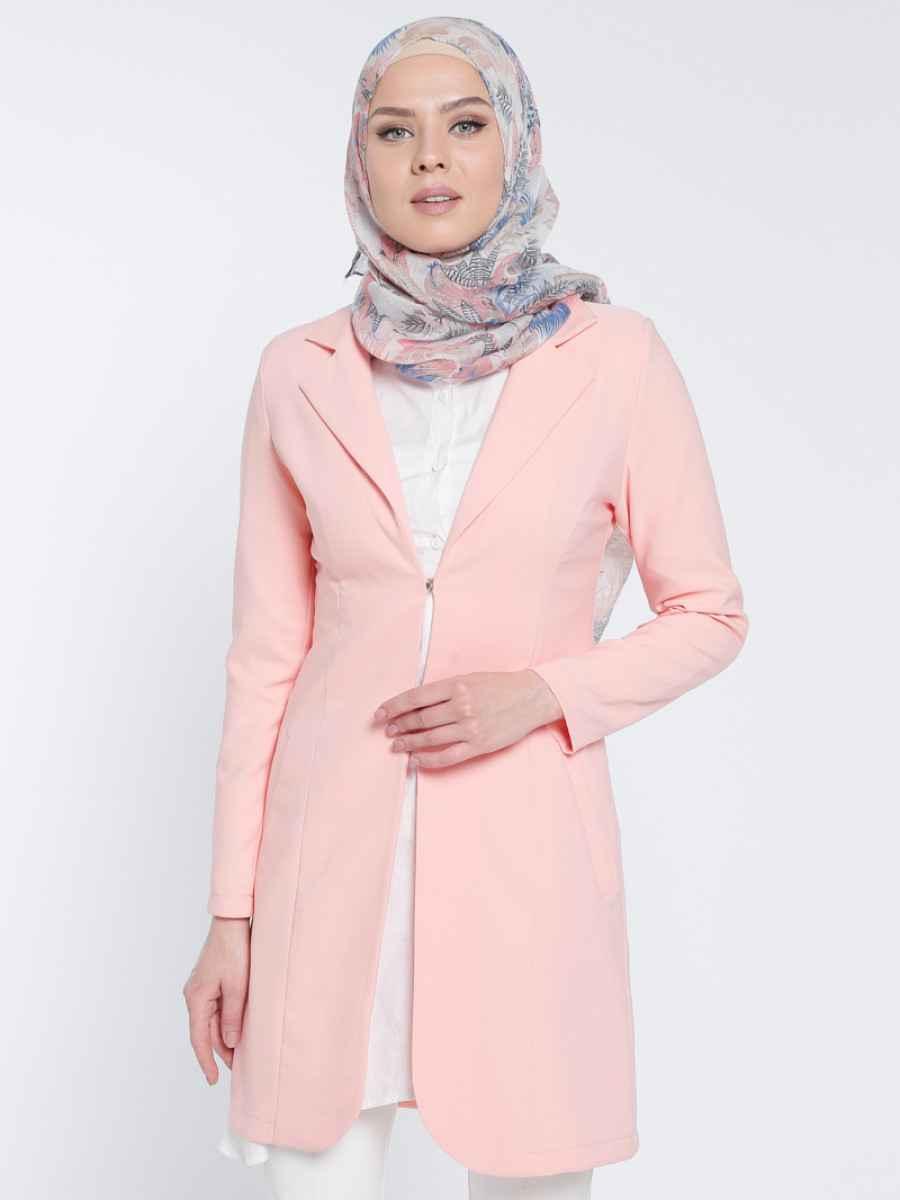 Appleline Tesettür Somon Renk Ceket Modası