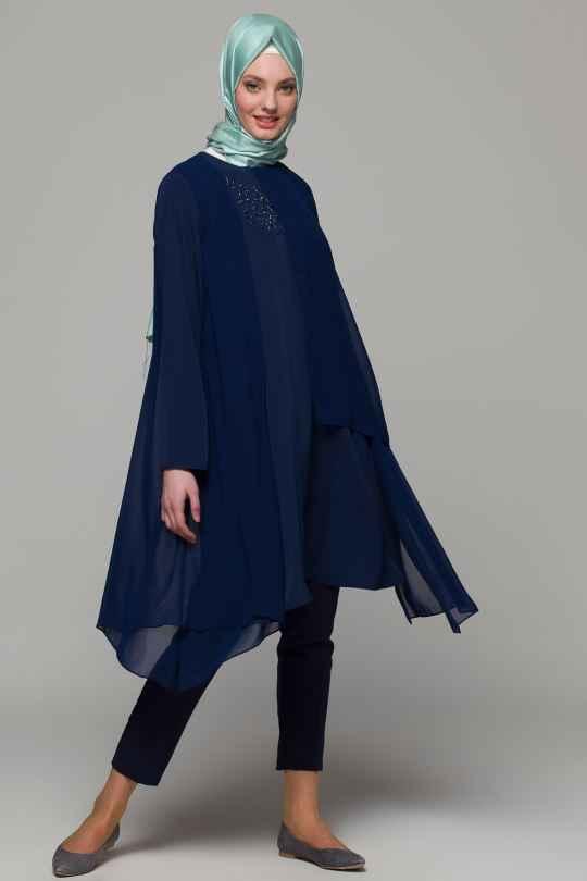 Armine Taş İşlemeli Tesettür Şifon Tunik Modelleri